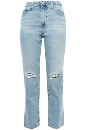 AG JEANS Cropped distressed high-rise straight-leg jeans