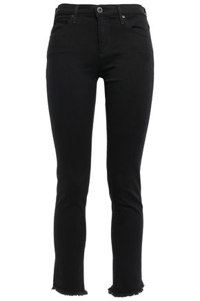 AG JEANS Cropped frayed mid-rise skinny jeans
