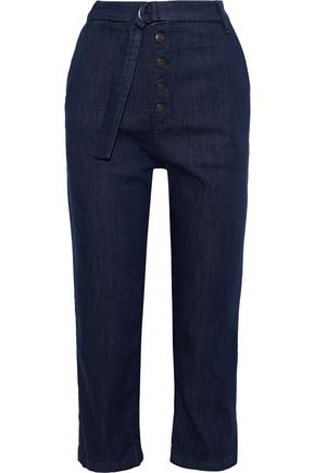 3x1 Vic cropped belted high-rise straight-leg jeans