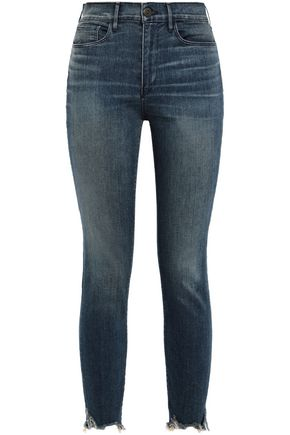 3x1 Cropped frayed high-rise skinny jeans