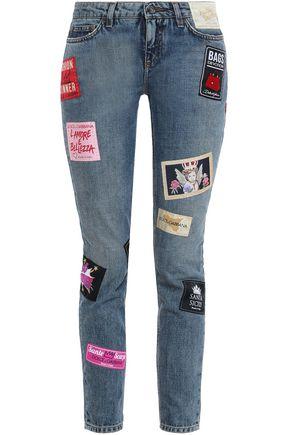 DOLCE & GABBANA Cropped appliquéd mid-rise slim-leg jeans