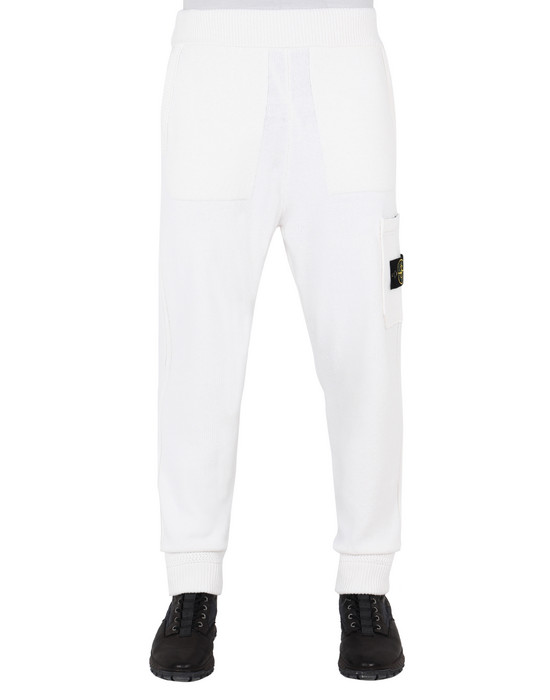 STONE ISLAND 558A7 KNIT PANTS Man Natural White