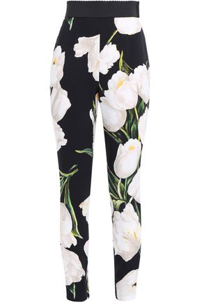 DOLCE & GABBANA Cropped floral-print tapered crepe pants