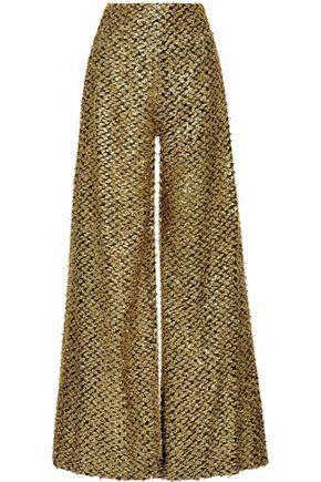 ROLAND MOURET Harrison metallic fil coupé chiffon wide-leg pants