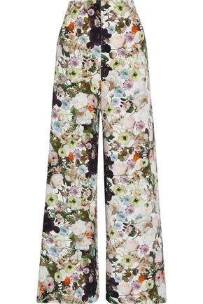 ADAM LIPPES Floral-print silk-crepe wide-leg pants