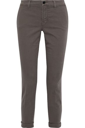 J BRAND Josie cropped brushed cotton-blend twill slim-leg pants