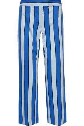 DEREK LAM 10 CROSBY Cropped striped twill wide-leg pants