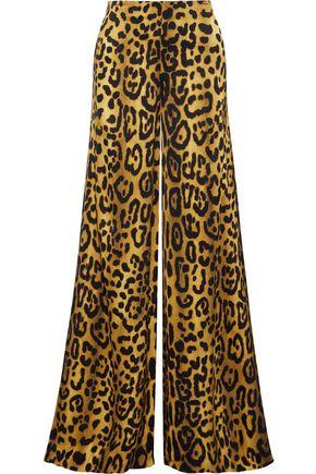 ADAM LIPPES Leopard-print satin-crepe wide-leg pants
