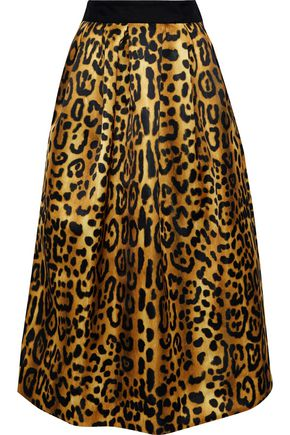 ADAM LIPPES Gathered leopard-print duchesse-satin midi skirt