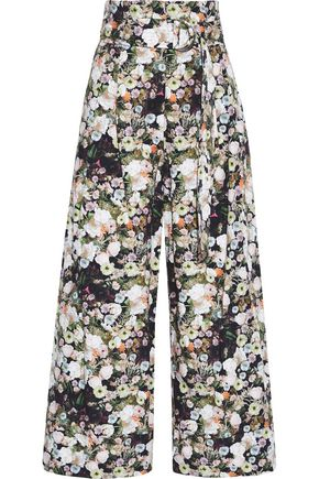 ADAM LIPPES Belted floral-print cotton-poplin wide-leg pants
