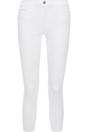 J BRAND 835 cropped studded mid-rise skinny jeans
