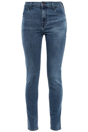 J BRAND Faded mid-rise skinny jeans