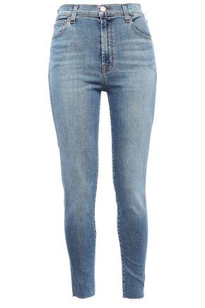 J BRAND Frayed high-rise skinny jeans