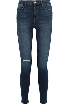 FRAME Le High Skinny faded high-rise skinny jeans
