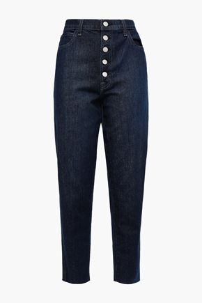 J BRAND Cropped frayed high-rise tapered jeans