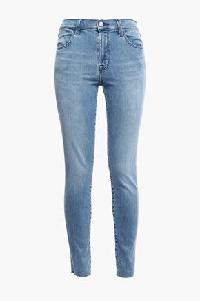J BRAND Frayed faded high-rise skinny jeans