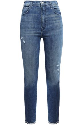 J BRAND Cropped distressed faded high-rise skinny jeans