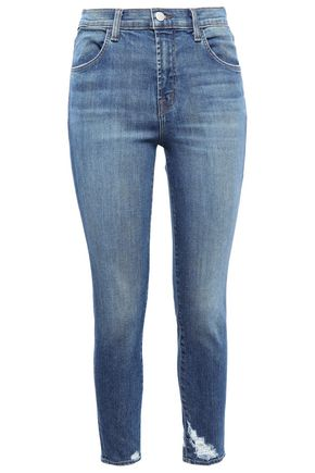 J BRAND Cropped distressed faded skinny jeans