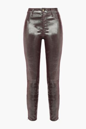 J BRAND Coated lizard-effect leather skinny pants