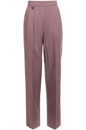 AGNONA Wool and cashmere-blend twill straight-leg pants