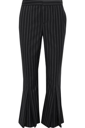 FRAME Pleated pinstriped wool-blend kick-flare pants