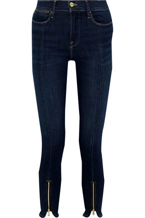 FRAME Le Skinny zip-detailed mid-rise skinny jeans
