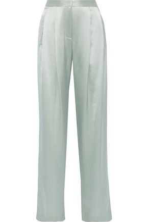 ADAM LIPPES Pleated silk-charmeuse wide-leg pants