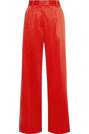 BAUM UND PFERDGARTEN Pleated cotton-blend poplin wide-leg pants