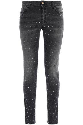 JUST CAVALLI Crystal-embellished distressed mid-rise skinny jeans