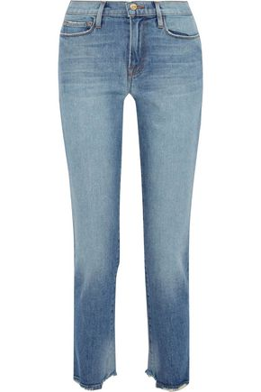 FRAME Le Nouveau cropped distressed mid-rise straight-leg jeans