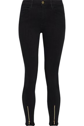 FRAME Le High Skinny zip-detailed mid-rise skinny jeans