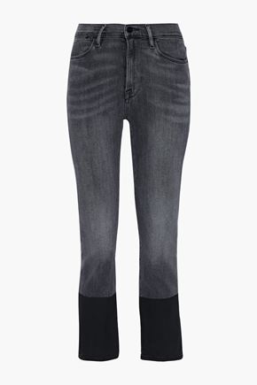 FRAME Le High Straight coated mid-rise straight-leg jeans