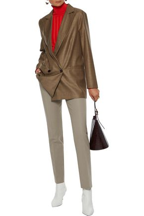 Akris Pants AKRIS WOMAN MELVIN COTTON AND SILK-BLEND SLIM-LEG PANTS MUSHROOM