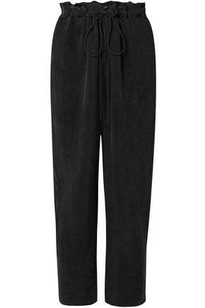 SALLY LAPOINTE Washed cupro-crepe straight-leg pants