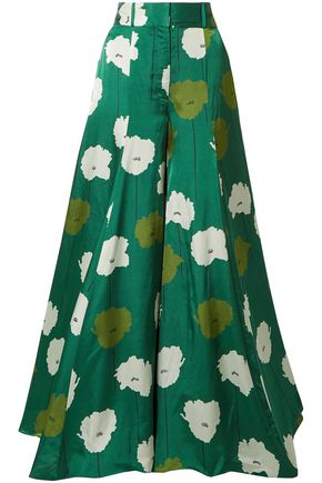 CAROLINA HERRERA Floral-print satin wide-leg pants