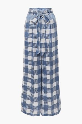 TEMPERLEY LONDON Lena belted checked satin-jacquard wide-leg pants
