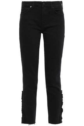 7 FOR ALL MANKIND Roxanne cropped ruffle-trimmed mid-rise straight-leg jeans