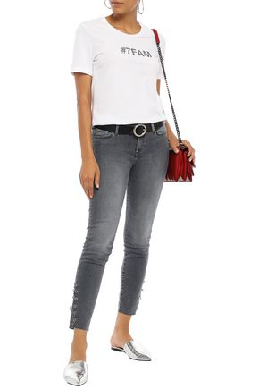 7 FOR ALL MANKIND The Skinny cropped barbell-embellished low-rise skinny jeans