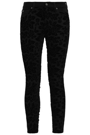 7 FOR ALL MANKIND Floral-appliquéd layered lace mid-rise skinny jeans