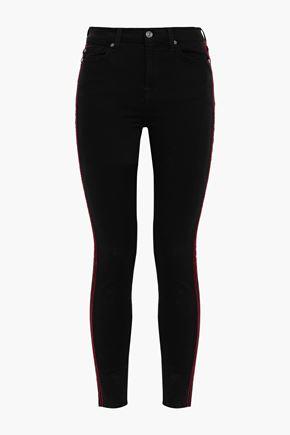 7 FOR ALL MANKIND Velvet-trimmed high-rise skinny jeans