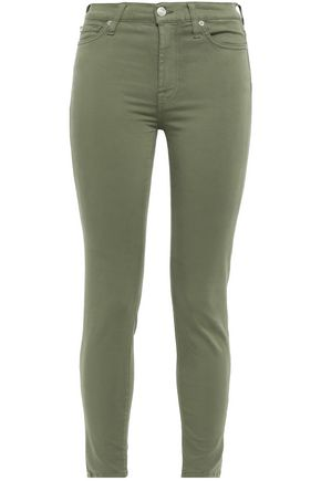 7 FOR ALL MANKIND Cropped cotton-blend sateen skinny pants