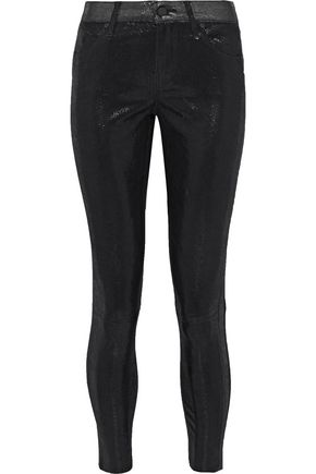 RTA Prince metallic lizard-effect leather skinny pants