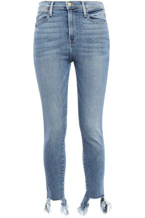 FRAME Frayed faded high-rise skinny jeans