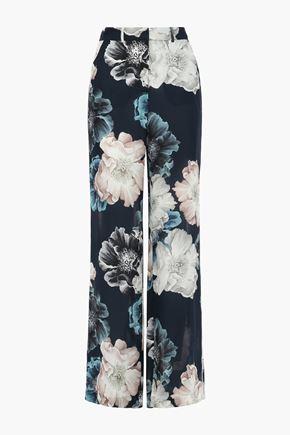 NICHOLAS Floral-print silk crepe de chine wide-leg pants