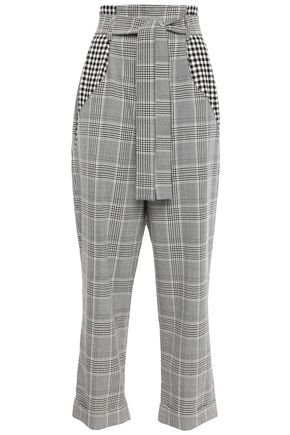 EACH X OTHER Belted checked woven wide-leg pants