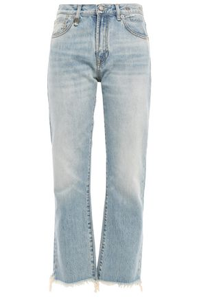R13 Tilly cropped frayed high-rise straight-leg jeans