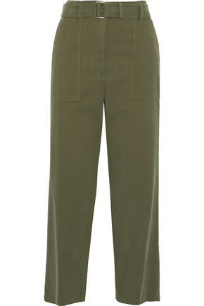 WEEKEND MAX MARA Pattino belted cotton-blend twill wide-leg pants