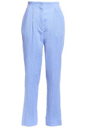 EMILIA WICKSTEAD Gus pleated cotton-blend seersucker pants
