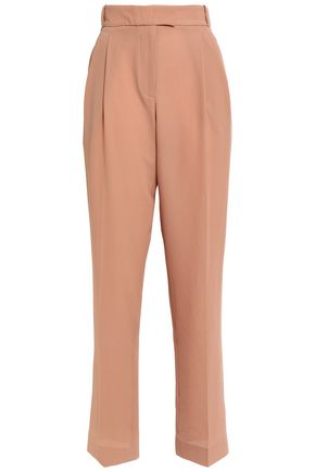 EMILIA WICKSTEAD Don King Wavecropped pleated crepe straight-leg pants
