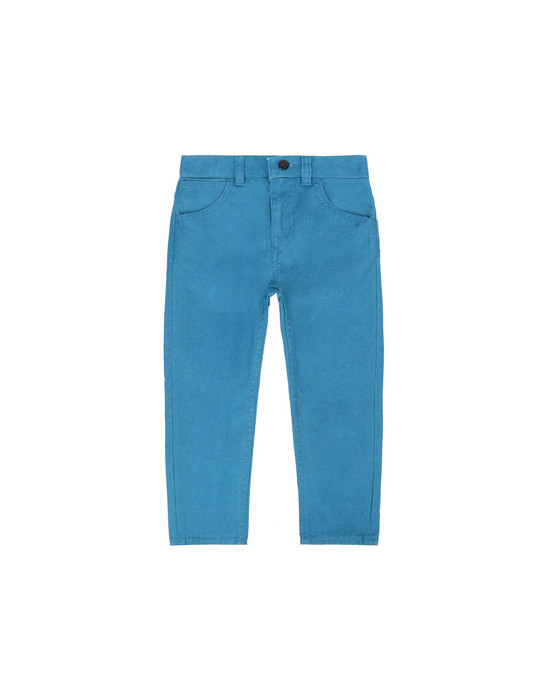 STONE ISLAND BABY J0210 CANVAS PLACCATO  TROUSERS - 5 POCKETS Man Teal